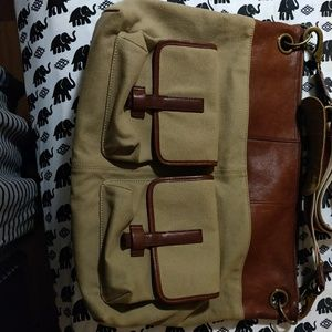 Canvas leather messenger